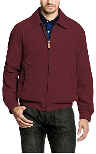 London Fog Men's Auburn Zip-Front Golf Jacket (Regular & Big-Tall Sizes), Burgundy, Large