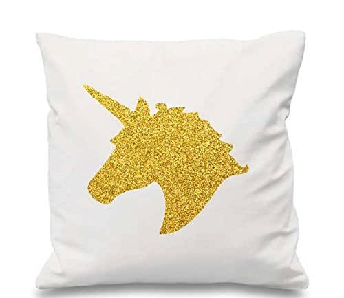 Amazon Com Glitter Unicorn Pillow Case Silver Or Gold Decorative 18 Quot X18 Quot Pillow Glitter