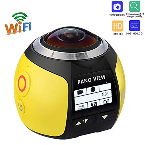 BFZJ 4K WiFi Action Camera,220 ° Wide-Angle Support 360 Degree Panoramic Sport Camera,Mini Full HD 1080P Outdoor Waterproof Cam 4K WiFi Driving VR Camera (Color : Yellow)