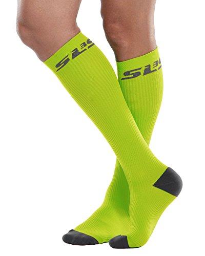 SLS3 Compression Socks for Nurses   Athletic Fit for Running   Pregnancy Flying   Shin Splint Compression Green Apple L,XL