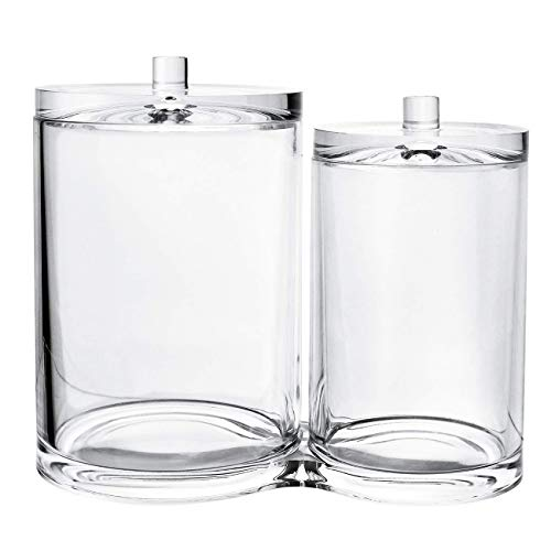 Cotton Ball and Swab Organizer,Q-tip Holder Canister Clear Plastic Acrylic Jar with Separate Lids for Q-Tips,Cotton Swab,Cotton Ball,Makeup Brush Holder Cotton Container