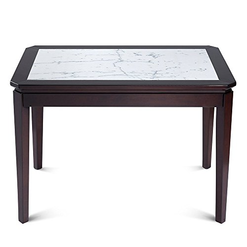 44' Dining Table (Olee Sleep 44''L Dining Table / White Natural Marble Top / Dark Brown Solid Wood Base)