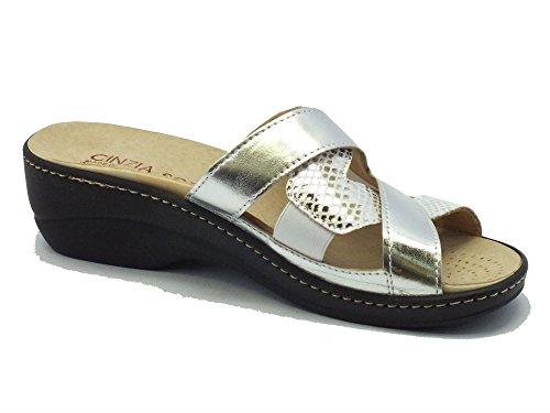 Cinzia Soft Iaeh12 Laminato Argento - Sandalias de vestir de Piel para mujer plateado