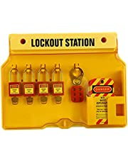 SM SunniMix Wall Mounted Lockout Station Padlocks Tags Out Hasp Kit Board Tools Covered Group Devices Center for Warehouses - Set