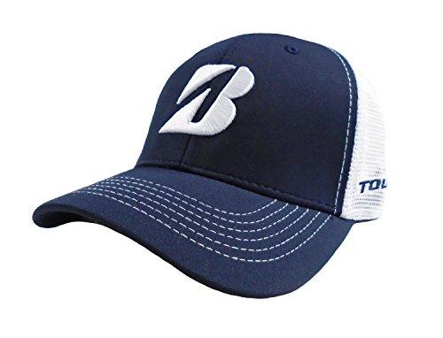 新しいブリヂストンゴルフメッシュカラーブロックネイビーブルー/ホワイト調節可能な帽子/キャップ