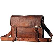 "13"" 14"" Inch Men's Genuine Leather Messenger College Macbook Air Pro Laptop Ipad Tablet Briefcase Satchel Bag"