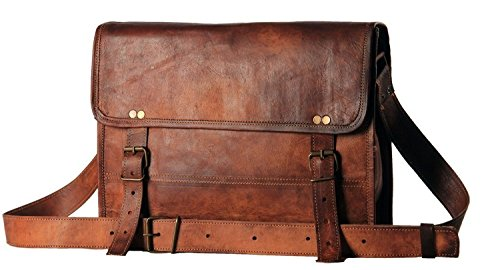 HandMadeCart Mens Auth Real Leather Messenger Laptop Briefcase Satchel Mens Bag