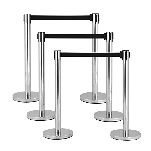 Goplus 6Pcs Stanchion Set w/ Black Retractable Belt Posts Queue Pole Crowd Control Barrier (Control Crowd)