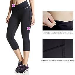 Baleaf Women\'s Yoga Capri Legging Inner Pocket Non See-through Black Size L