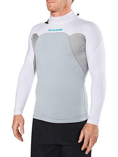 Dakine Men's Storm Snug Fit Hooded Long Sleeve Rashguard Shirt, White, S
