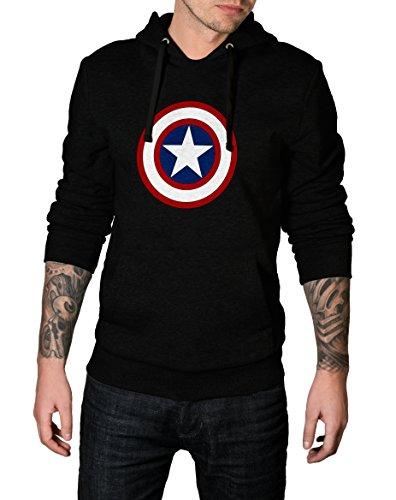 Mens Black Marvel Captain America Hoodie - Black Hoodie For Men | Capt America, S