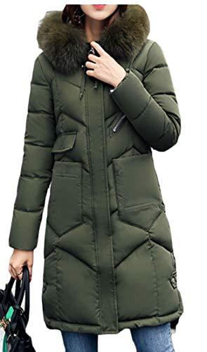Eku Di Militare Ispessita Donne Piumino Cappotto Di Incappucciati Verde Pelliccia Lungo Inverno d600nWrOP
