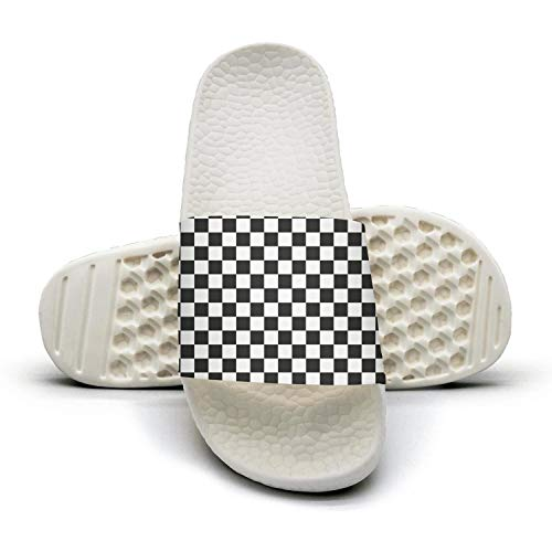 Black and white checkered Womens slides flip flops