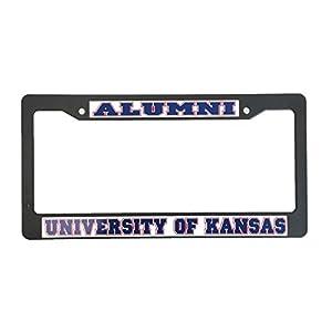 University of Kansas Alumni Black Plastic License Plate Frame For Front Back of Car