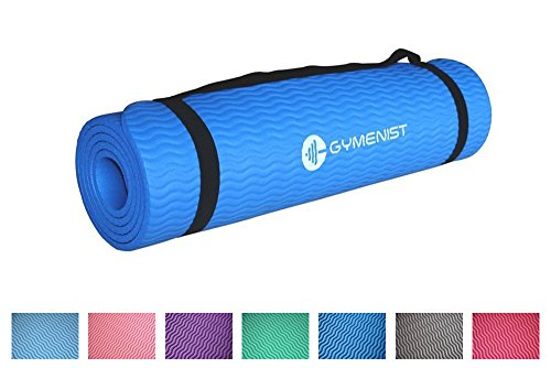 GYMENIST Thick Exercise Yoga Floor Mat Nbr 24 X 71 Inches Great for Camping Cardio Workouts Pilates Gymnastics (Dark Blue)