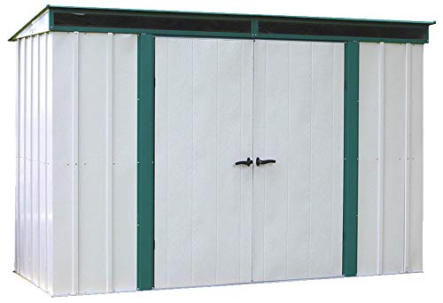 Arrow 10' x 4' Euro-Lite Shed Eggshell with Green Trim and Pent Roof Steel Storage Shed