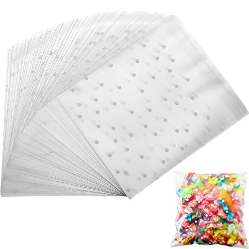 - Self Adhesive Treat Bag Cookie Bags Party Favor Bag White Polka Dot Chocolate Candy Gift Bags (5.5 x 5.5 Inches, 300 Pieces)