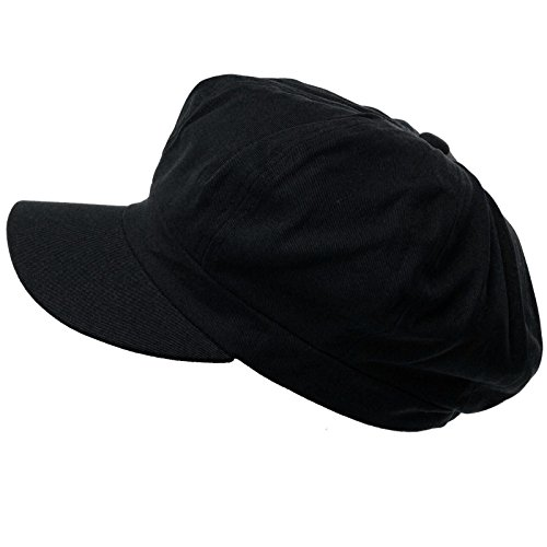 Summer 100% Cotton Plain Blank 8 Panel Newsboy Gatsby Apple Cabbie Cap Hat Black ()