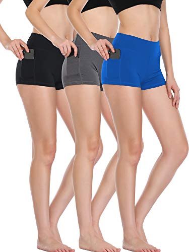 (Cadmus Women's High Waist Athletic Workout Shorts with Pocket,3 Pack,09,Black,Grey,Blue,Large)