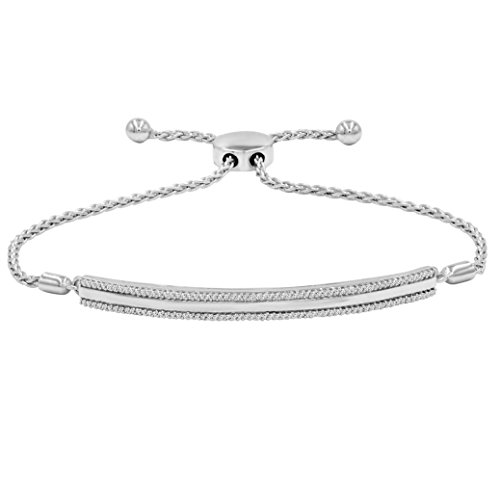 AGS Certified 1/4ct TW Diamond Bar Bolo Bracelet in .925 Sterling Silver