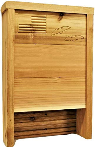 Made in USA- Premium Bat House | Western Red Cedar | Ready to install | Ideal Bat Shelter for extremely hot to warm climates | Environmentally Responsible Eco-Friendly Mosquito Control | Cedar