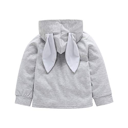 - MILWAY Baby Boys Girls Rabbit Ears Hoodies Toddler Long Sleeve Solid Sweater (100/12-18months, Gray)