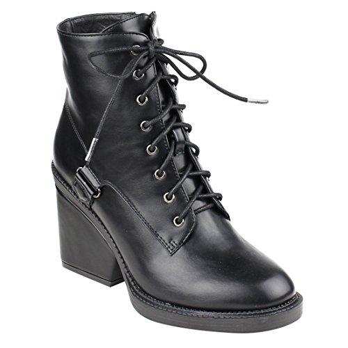 BESTON FM43 Womens Ankle High Top Wrapped Block Heel Combat Booties