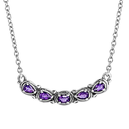 Carolyn Pollack Sterling Silver Purple Amethyst Gemstone 5 Stone Necklace 16 to 18 Inch