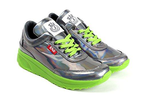 JAS Damen Mode Komfort Schnürer Turnschuhe Flache Schuhe Sneakers Fitnessstudio Fitness Pumps grün/glänzend