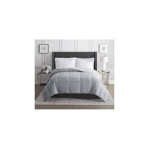Christian Siriano Faux Fur Comforter, Queen, Gray (Chevron) by Christian Siriano