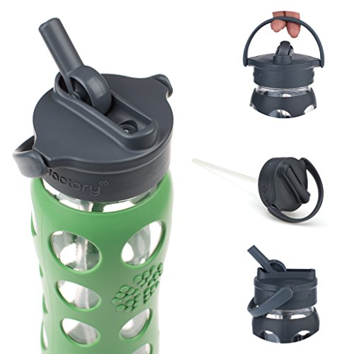 Lifefactory 22-Ounce BPA-Free Glass Water Bottle with Straw Cap and Silicone Sleeve, Green