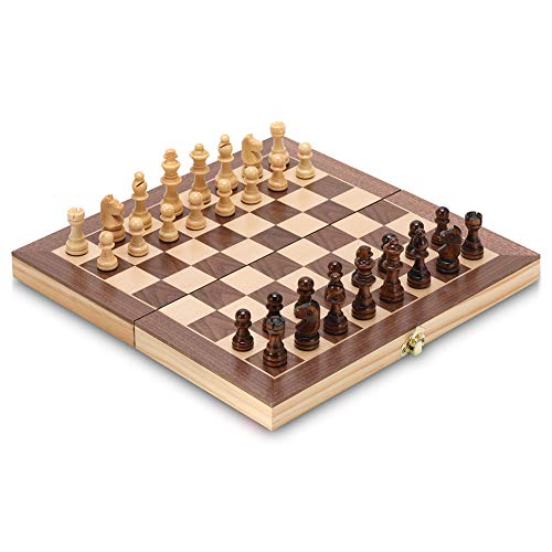 Chess Set Yangzi 12 inch Magnetic Foldable Wooden Chessboard with Chess Pieces Storage Slot