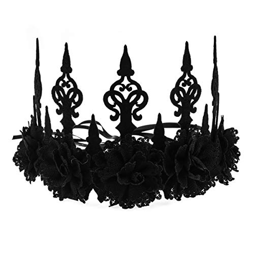 Love Sweety Halloween Vintage Crown Rose Headband Gothic Floral Headpiece (A ()