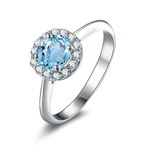 Rings for Her Sterling Silver Rings Round Blue Topaz Silver Rings for Women Eternity Size 6