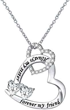 bf9f999f7 DAOCHONG Sterling Silver Sisters Necklace Always My Sister Forever My  Friend Heart Pendant Necklace Or Bracelet