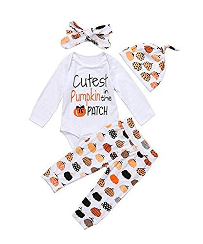 4PCS Halloween Baby Boys Girls Outfit Set Pumpkin Costume Romper (6-9 Months)