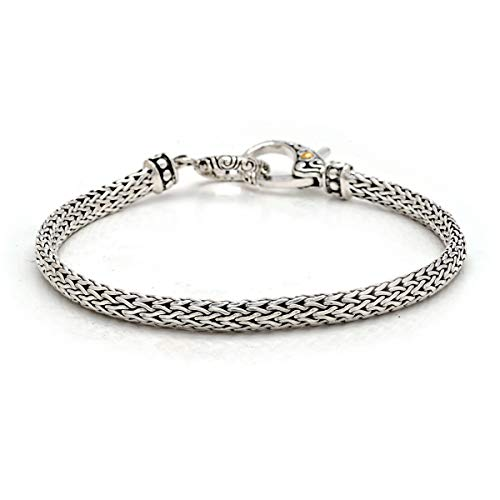 925 Sterling Silver and 18 Karat Yellow Gold Bracelet with Tulang Naga Chain Oval 3x5 miliMeter with Lobster Clasp Lock, Women and Jewelry Gift ()