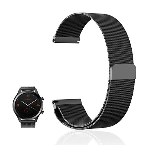 FRGNIE Band Compatible Ticwatch C2 Onyx/Black Band, Milanese Stainless Steel Fully Magnetic Closure Mesh Replacement Strap for Ticwatch C2 Onyx/Balck/Ticwatch 2 / S/E Smartwatch (Black