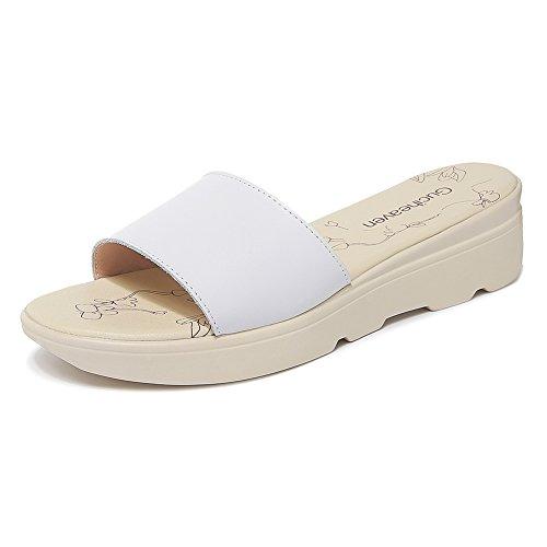 White Zapatillas JZTC Verano Y 7CM 8824 De Moda Chanclas Sandalias KJJDE Mujer Sandalias Cuña De pH6w0BFn