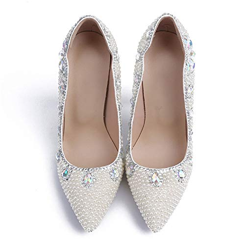 Ladies Heeled For Shoes Pointed Pumps Toe Women White Wedding Prom Party Shoes Evening Elegant Pearl Bride Stiletto Colored High Diamond awSxIqU