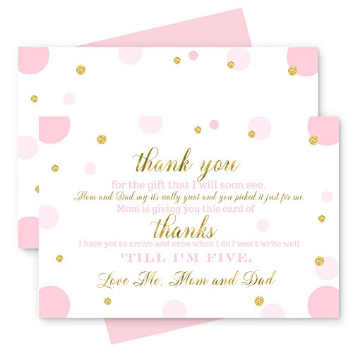 15 Pink and Gold Thank You Cards with Blush Envelopes - Stationery for Girls Baby Shower -Gorgeous Abstract Dot Party Theme