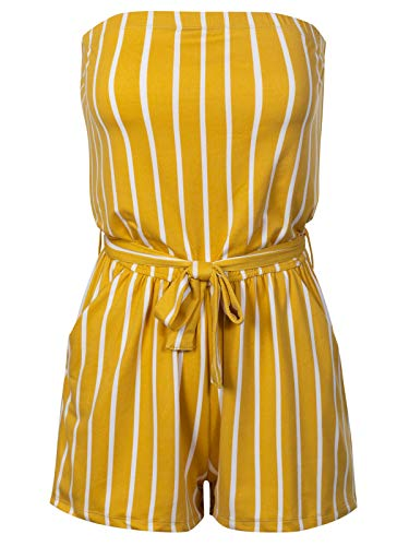 Beyondfab Women's Pinstripe Printed Tube Romper Summer Jumper with Belt Mustard S (Women Sexy Jumpers Short For)
