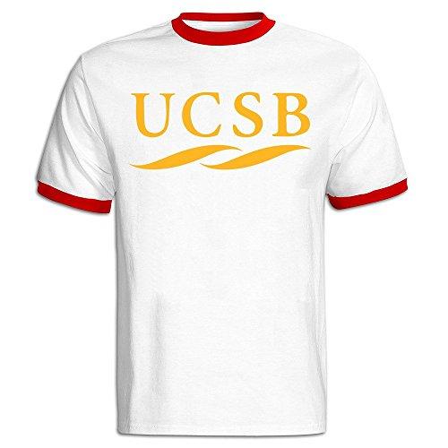 Men's University Of California Santa Barbara UCSB Logo Baseball T Shirt Red ()