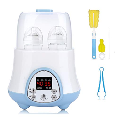 Baby Bottle Warmer ,Bottle Sterilizer 6-in-1 with Breast Milk ,Formula Warmer ,Baby Food Heater,Defrost,Yogurt Maker,Reservation Function,Real-time LCD Display and Precise Temperature Control,Fit Most Brands Baby Bottles