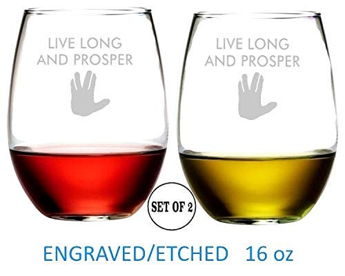 (Live Long And Prosper Star Trek Inspired Stemless Wine Glasses Etched Engraved Great Handmade Gifts for Everyone Set of 2 )