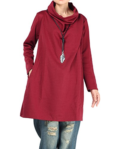 Own Contemporary Quilts - Mordenmiss Women's New Cowl Neck Long Sleeve Tunics Tops L Red