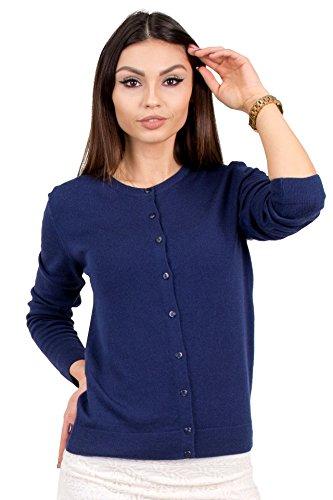 KNITTONS Women's Wool Crewneck Cardigan Button Up Long Sleeve Sweater (Small, Navy Blue)