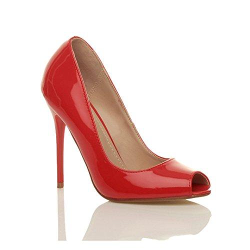 Ajvani Zapatos de tacón para mujer, puntera abierta estilo peep toe Rojo - rojo (Red Patent)