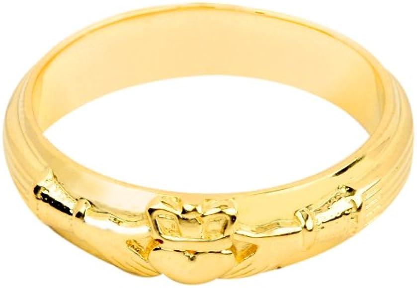 Amazon.com: De los hombres 14 K oro amarillo Claddagh ...