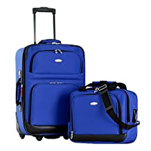 Olympia Luggage Let's Travel 2 Piece Carry-On Luggage Set, Royal Blue, One Size